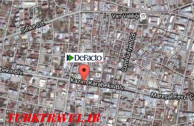 نقشه دسترسی به فروشگاه دفاکتو وان