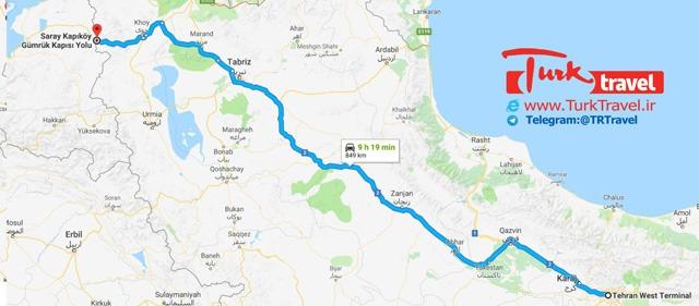 نقشه مسیر تهران تا مرز رازی