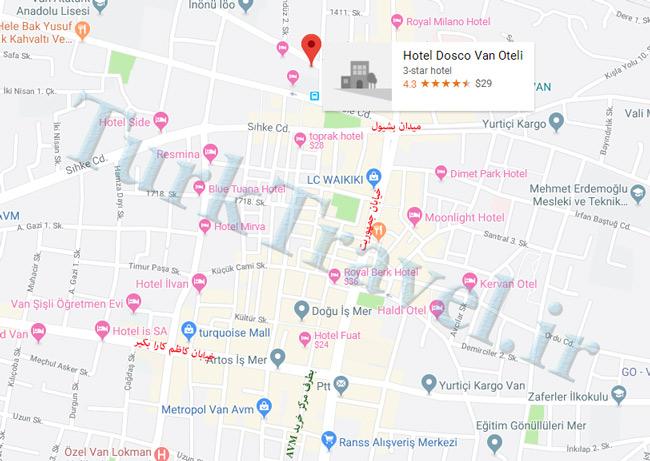 نقشه جانمایی هتل دوسکو وان (Dosco Hotel Van)