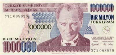 اسکناس یک میلیون لیره ای ترکیه