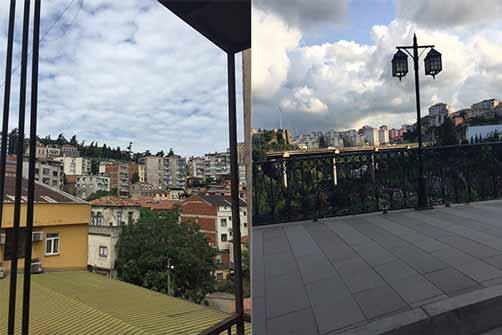 نمایی از منظره شهر ترابزون از پنجره هتل