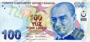 اسکناس صد لیره ای ترکیه