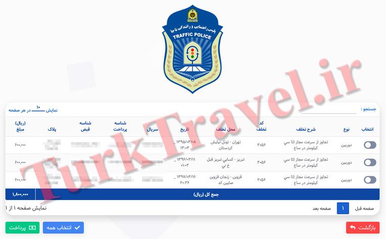 مقدار جریمه های رانندگی در ایران