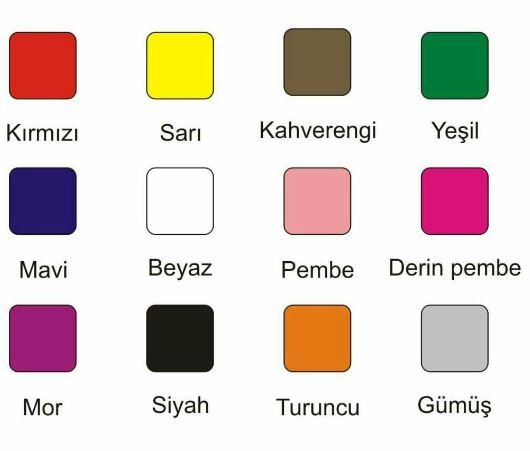 تلفظ رنگها در ترکیه